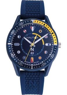 Nautica N83 Men's NAPSPS904 Surf Park Blue/Yellow Silicone Strap Watch