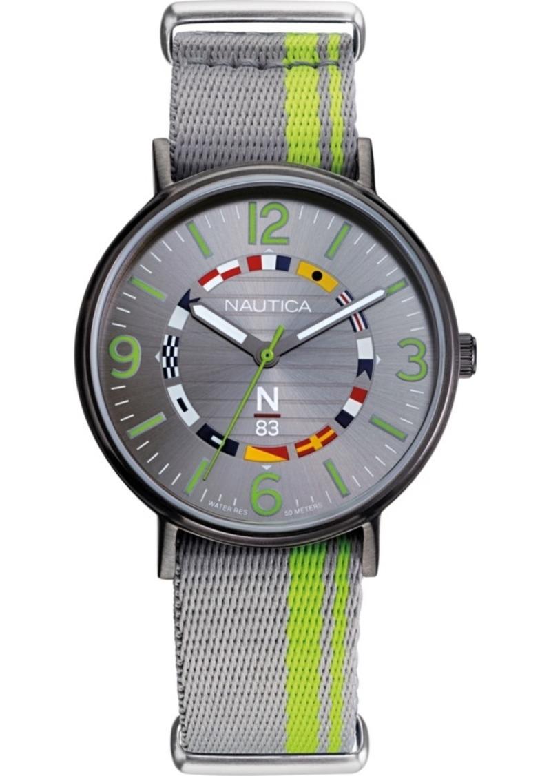 Nautica N83 Men's NAPWGS903 Wave Garden Gray/Green Fabric Slip-Thru Strap Watch