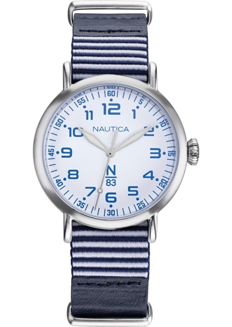 Nautica N83 Men's NAPWLS906 Wakeland Blue/White Stripe Leather Strap Watch
