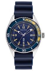 Nautica N83 Men's Urban Surf Navy, Yellow Silicone Strap Watch 44mm