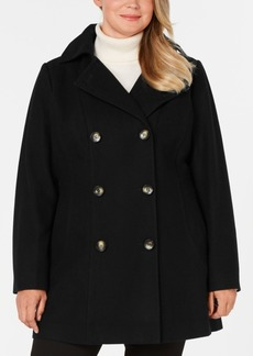 Nautica Plus Size Double-Breasted Hooded Peacoat