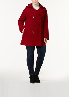 Nautica Plus Size Hooded Wool-Blend Peacoat