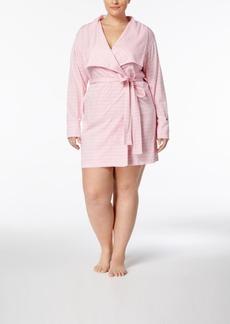 Nautica Plus Size Shawl-Collar Striped Robe