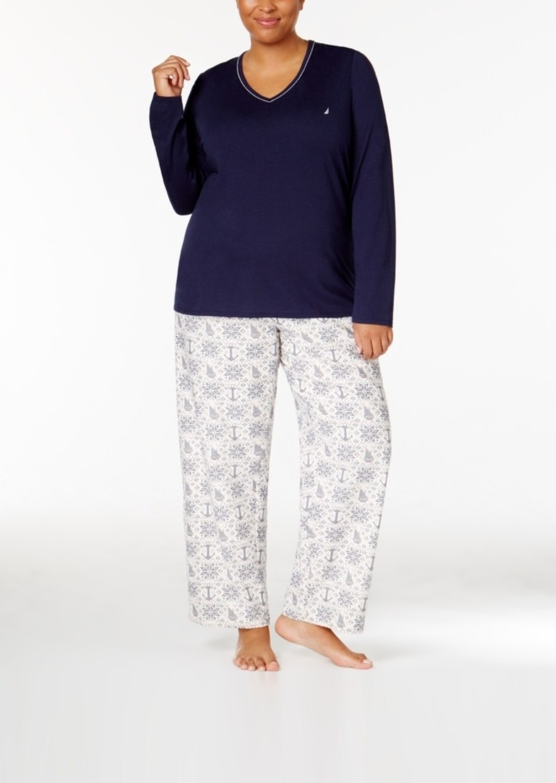 8b0b77f9e7 Nautica Nautica Plus Size V-Neck Knit Top and Flannel Pajama Pants ...