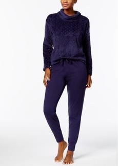 Nautica Plush Textured Top & Jogger Pants Pajama Set