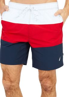 Nautica Quick Dry Colorblocked Swim Trunks