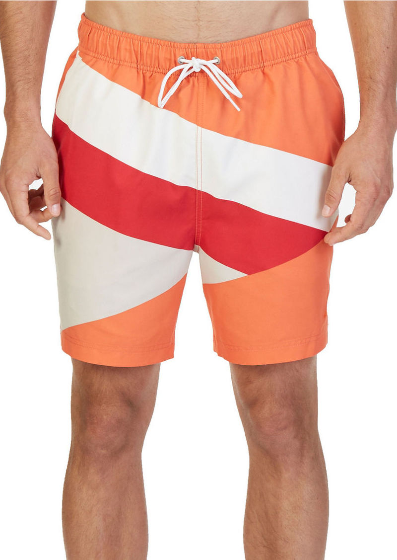 NAUTICA Quick Dry Diagonal Colorblock 18in Swim Trunks
