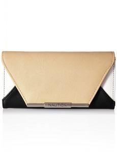 Nautica Rockaway Perf. & Solid Flap Envelope RFID Clutch Wallet black/dune/chalk