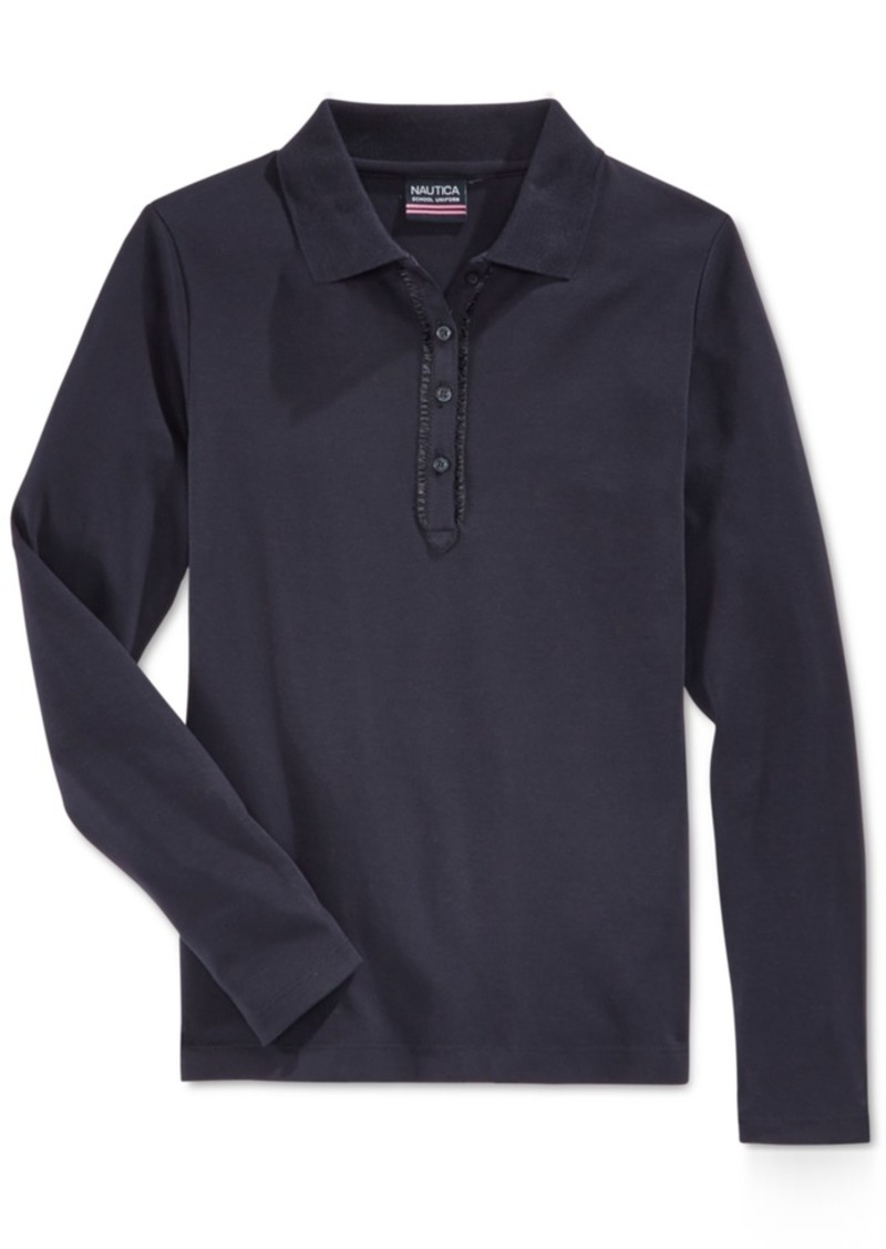 eb8c5dff385 Nautica Nautica School Uniform Ruffled Long-Sleeve Polo Shirt