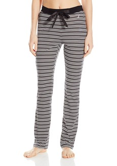 Nautica Sleepwear Women's Black and Pink Stripe Pajama Pant