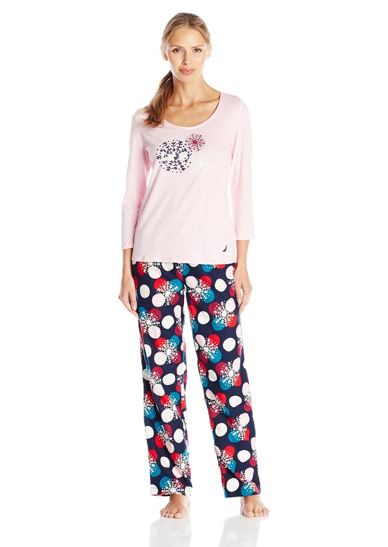 Nautica Nautica Sleepwear Women s Flannel Dot Snowflake Pajama Set ... e18a77246