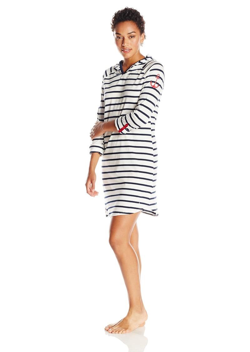Nautica Sleepwear Women's Knit Stripe Hooded Chemise