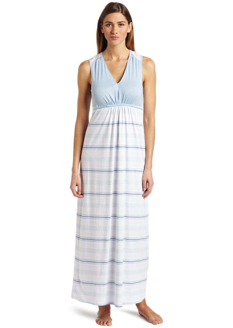 Nautica Sleepwear Women's Knit Stripe Maxi Dress