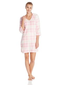 Nautica Sleepwear Women's Plush Plaid Hoodie Chemise