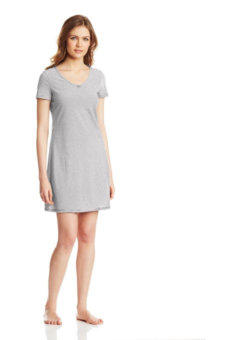 Nautica Sleepwear Women's Stripe Anchor V Neck Sleep Shirt