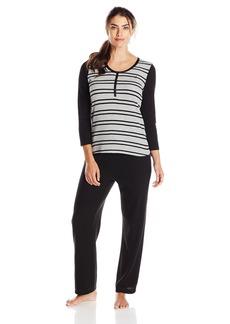 Nautica Sleepwear Women's Waffle Stripe Pajama Set
