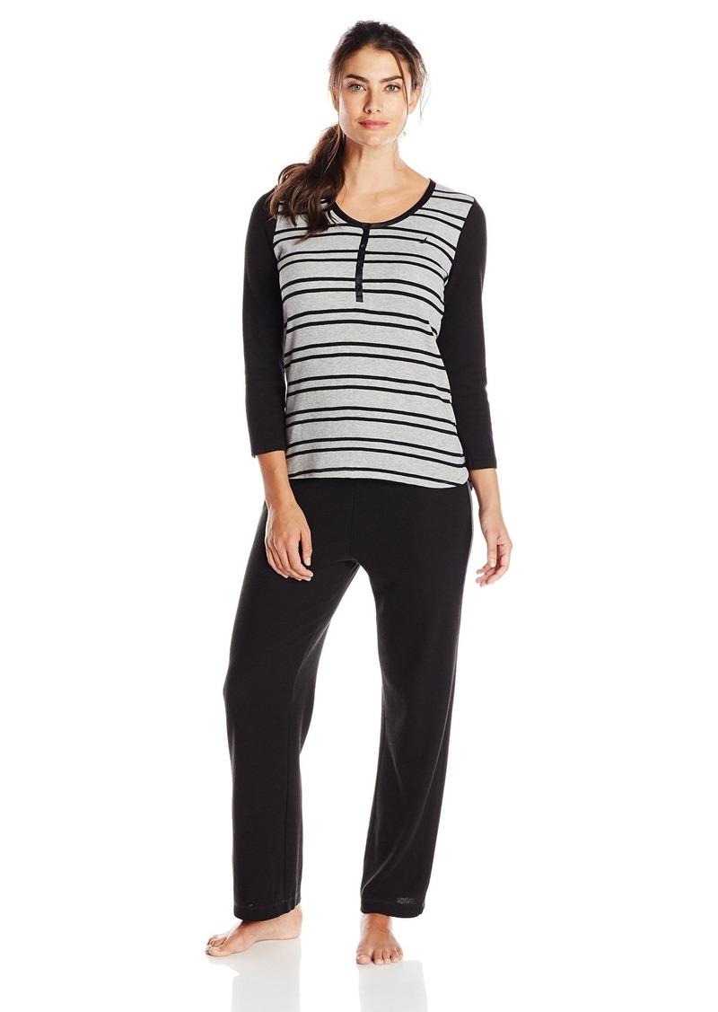 SALE! Nautica Nautica Sleepwear Women s Waffle Stripe Pajama Set cfc289e0a