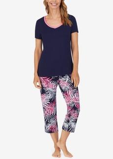 Nautica Solid T-Shirt & Printed Capri Pants Pajama Set