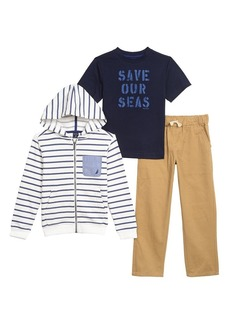 Nautica Toddler Boys' Fleece Stripe Hoodie Tee and Twill Jogger Set