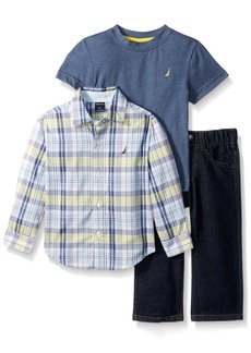 Nautica Boys' Toddler Long Button Down Shirt Short Sleeve Tee and Pull-on Denim Pant Set