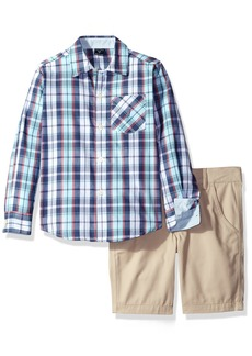 Nautica Boys' Toddler Long Sleeve Button Down Shirt and Flat Front Short Set