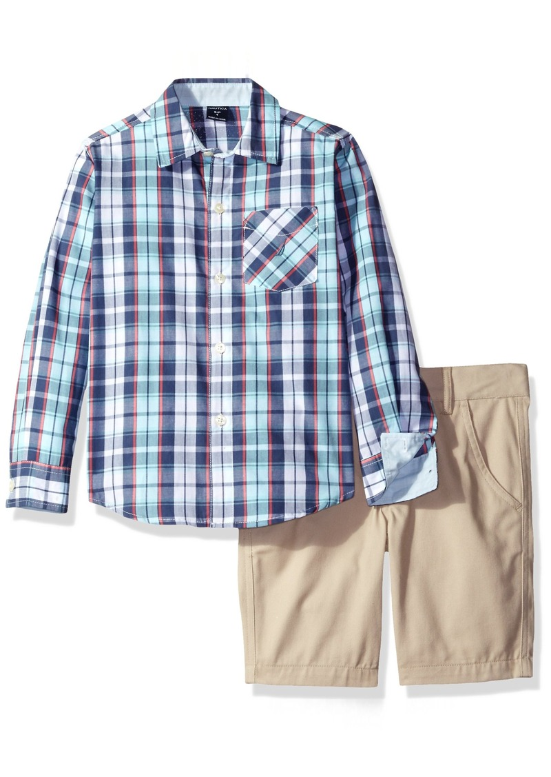 05820fa8 Nautica Toddler Boys' Long Sleeve Button Down Shirt and Flat Front Short Set