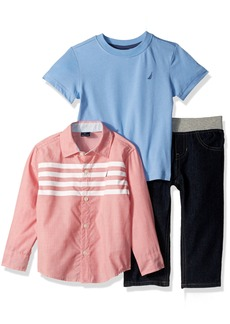 Nautica Boys' Long Button Down Shirt with Short Sleeve Tee and Pull-on Denim Pant Set