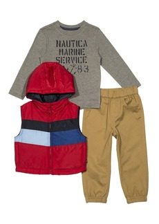 Nautica Toddler Boys' Puffer Vest Tee and Jogger Three Piece Set