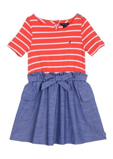 Nautica Girls' Toddler Combination Dress with Chambray Skirt Bright red