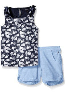 Nautica Girls' Toddler Graphic Tee Knit Top with Woven Short Set
