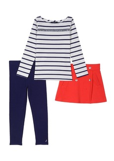 Nautica Toddler Girls' Jersey Top Ponte Skirt and Legging Set