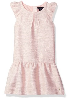 Nautica Toddler Girls' Metallic Tweed Drop Waist Dress