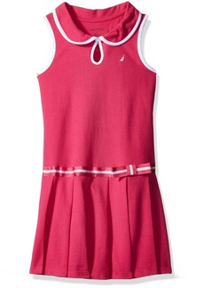 Nautica Girls' Toddler Pleated Dress with Button Front Keyhole