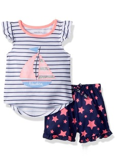 Nautica Toddler Girls' Sailboat Short Pajama Set