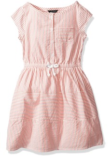 Nautica Toddler Girls' Short Sleeve Stripe Oxford Dress With Button Placket