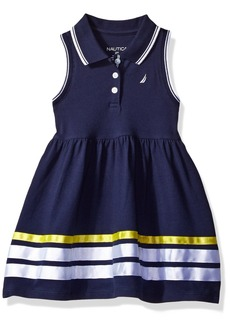 Nautica Toddler Girls' Sleeveless Pique Dress with Grosgrain Ribbon Trim Hem