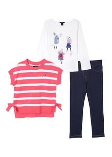 Nautica Toddler Girls Slouchy Sweater Knit Top & Jegging bright pink