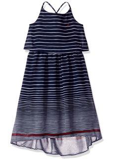 Nautica Toddler Girls' Stripe Chiffon Dress with Hi Low Hem
