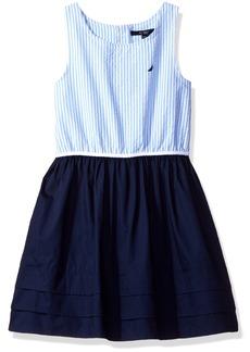Nautica Toddler Girls' Stripe Oxford Bodice Dress with Jersey Skirt Pleated Hem