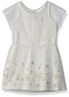 Nautica Toddler Girls' Tank Dress with Embroidered Mesh Overlay