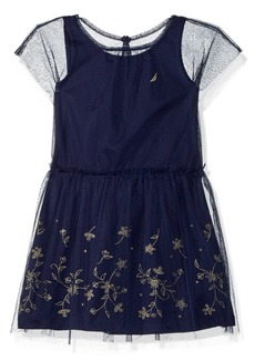 Nautica Girls' Toddler Tank Dress with Embroidered Mesh Overlay