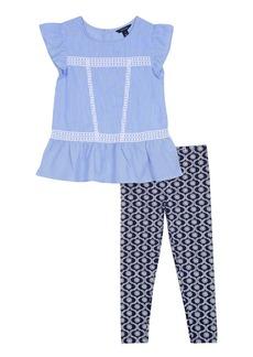 Nautica Toddler Girls' Two Piece Short Sleeve Legging Sets