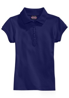 Nautica School Uniform Ruffle Button Placket Polo, Big Girls