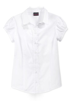 Nautica School Uniform Ruffled Button-Front Top, Little Girls