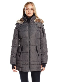 Nautica Women's 3/4 Puffer Coat with Faux Fur Trim Hood in Etch Fabric  XS