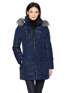 Nautica Women's 3/4 Puffer Coat with Faux Fur Trimmed Hood