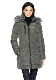 Nautica Women's 3/4 Puffer Coat With Faux Fur Trimmed Hood  Extra Small
