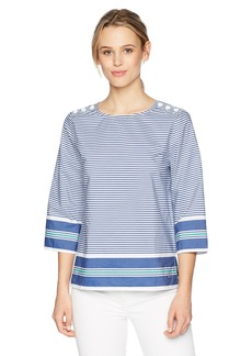 Nautica Women's 3/4 Sleeve Striped Shoulder Button Woven Top