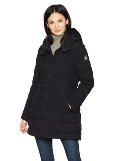 Nautica Women's 3/4 Stretch Packable Down Jacket with Hood