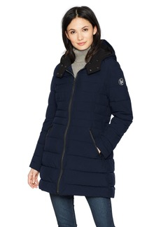 Nautica Women's 3/4 Stretch Packable Down Jacket with Hood  Extra Small